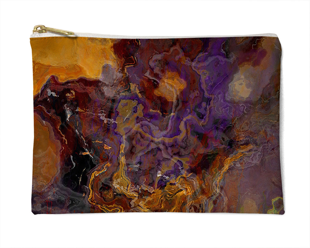 Makeup Bag, Pencil Case, Cosmetic Bag Abstract Art, Purple and Brown