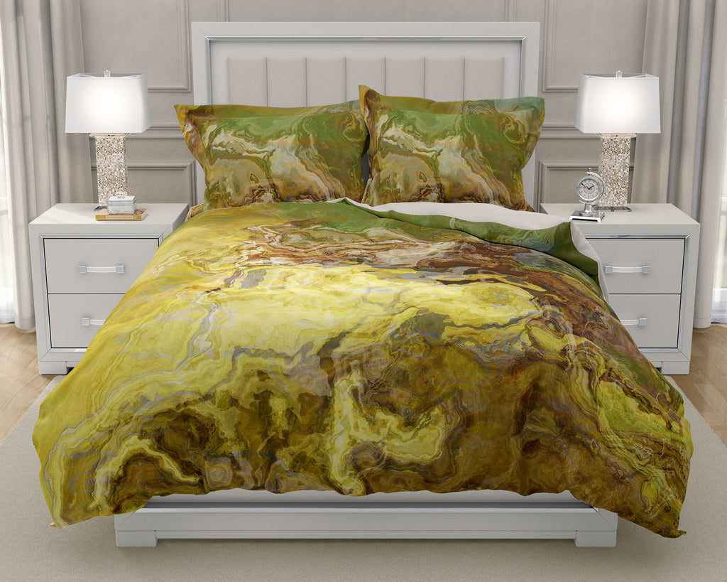 Duvet Cover with abstract art, king or queen in olive green, brown