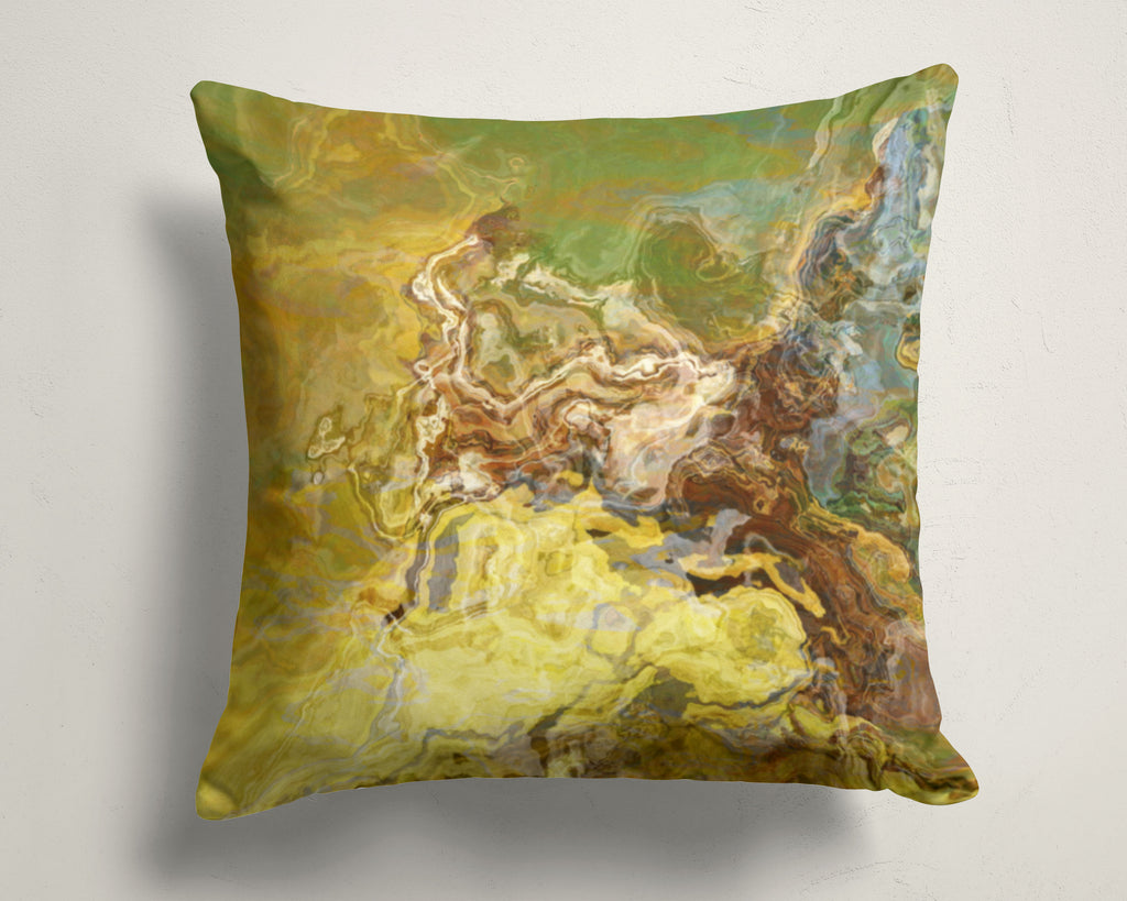 Abstract art pillow covers, 16x16 and 18x18 inches, olive green, brown