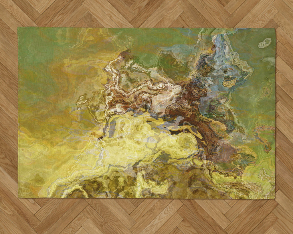 Area Rug with Abstract Art, 2x3 to 5x7, in Olive Green, Brown, Yellow