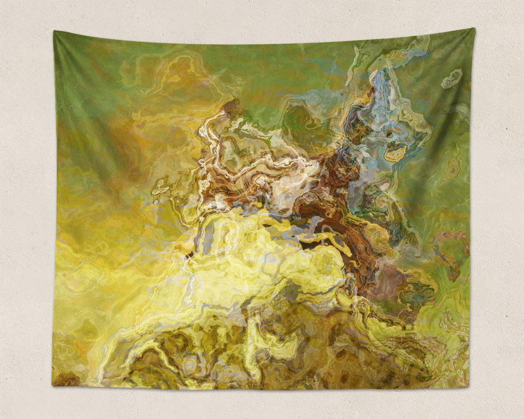 Abstract Art large modern wall hanging in olive green, brown, yellow