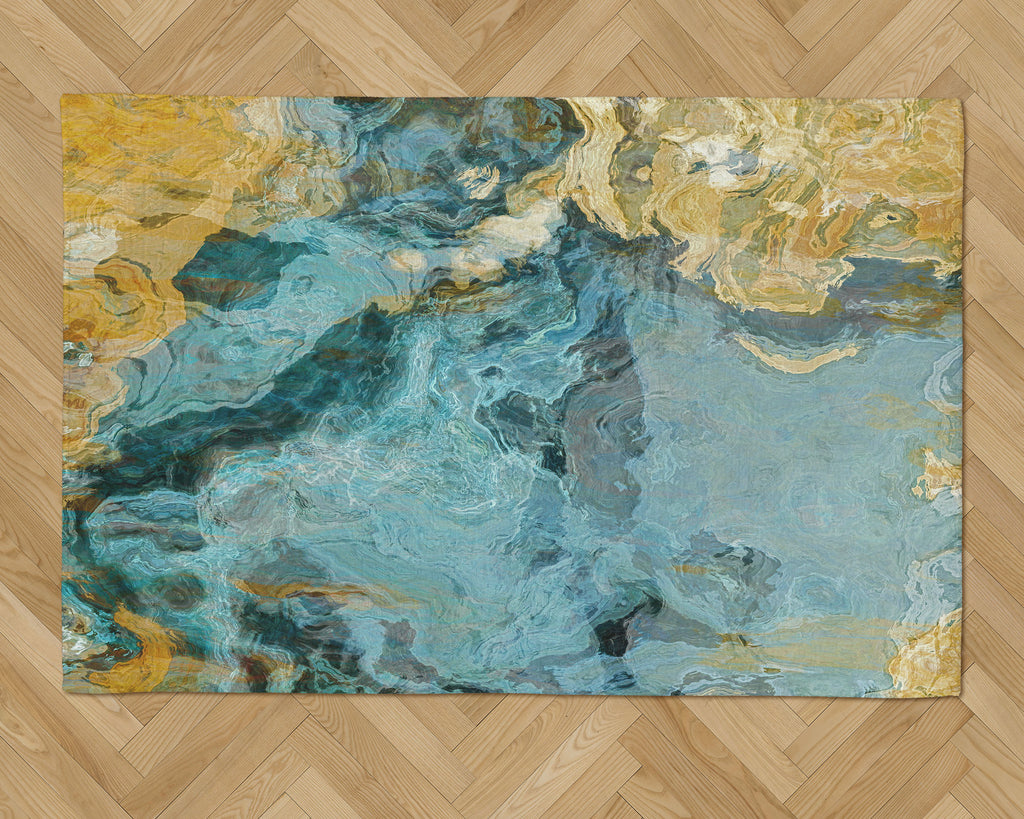 Area Rug with Abstract Art, 2x3 to 5x7, in Aqua, Yellow and Tan
