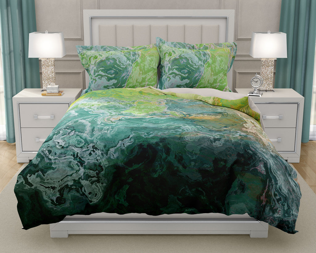 Duvet Cover with abstract art, king or queen in blue-green, teal