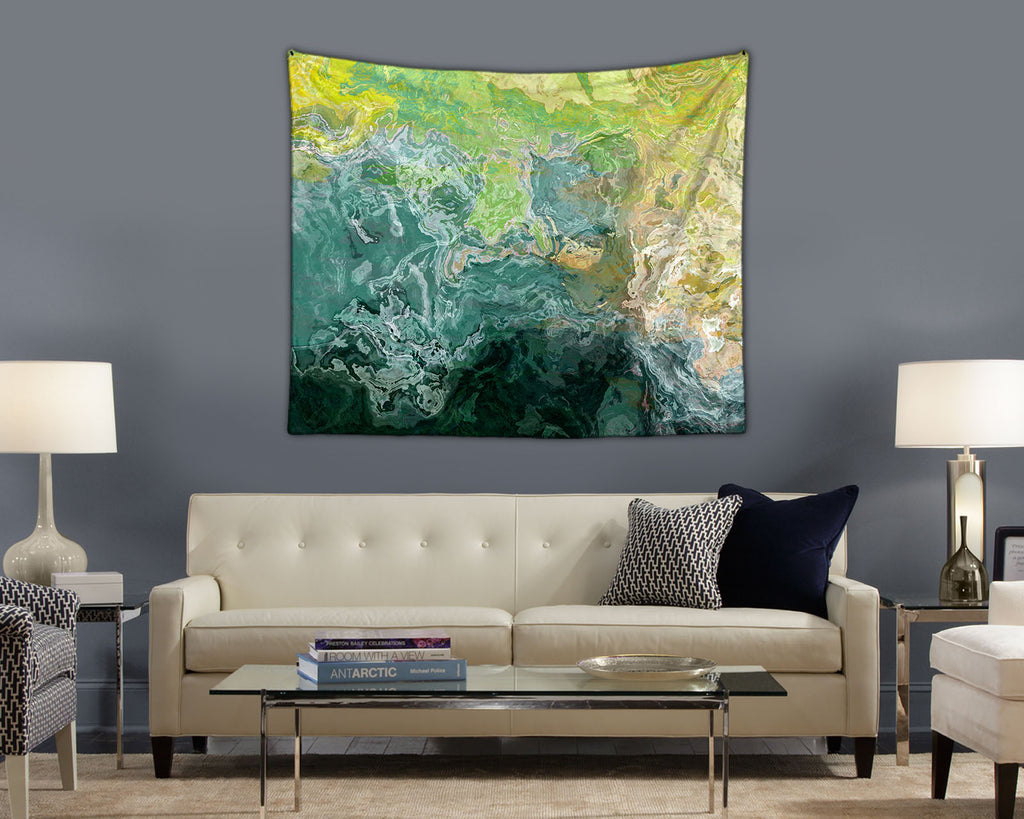 Abstract Art Tapestry, Blue-Green, Teal, Yellow-Green, Cream