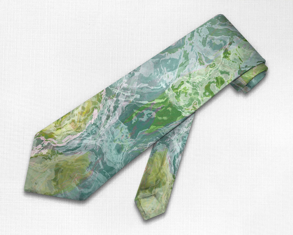 Abstract art men's tie in blue-green and teal