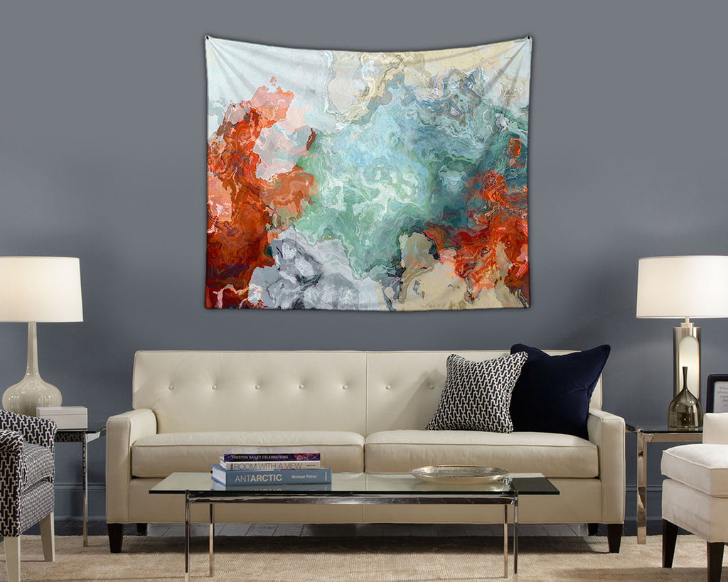 Abstract Art Tapestry wall hanging in dark red, blue and biege