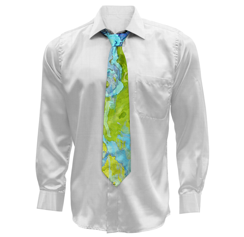Contemporary Mens Necktie with abstract art