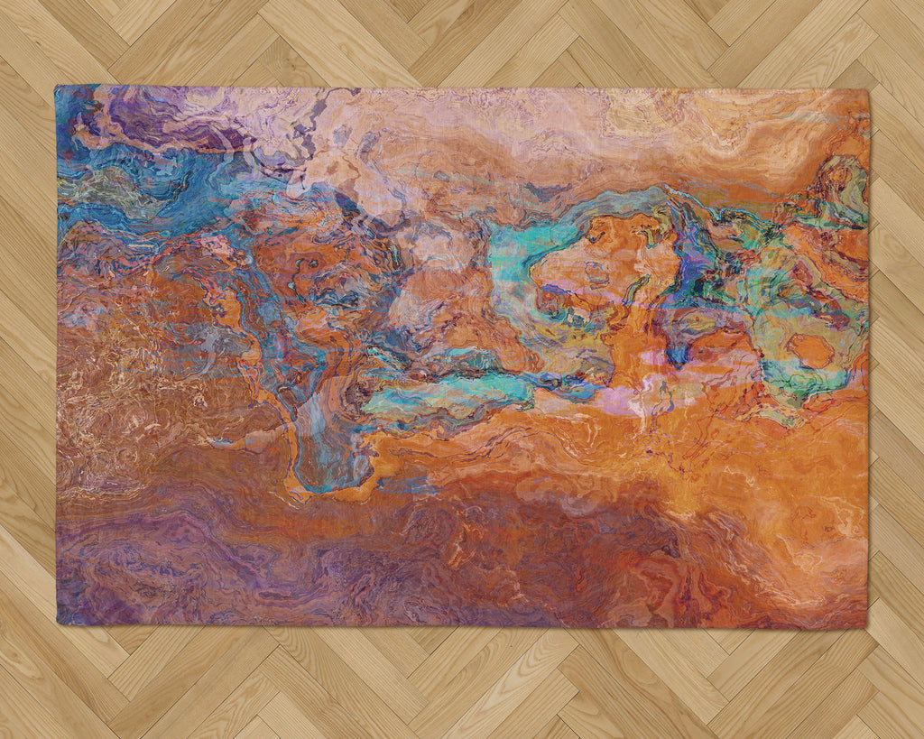 Area Rug with Abstract Art, 2x3 to 5x7, in Turquoise and Orange
