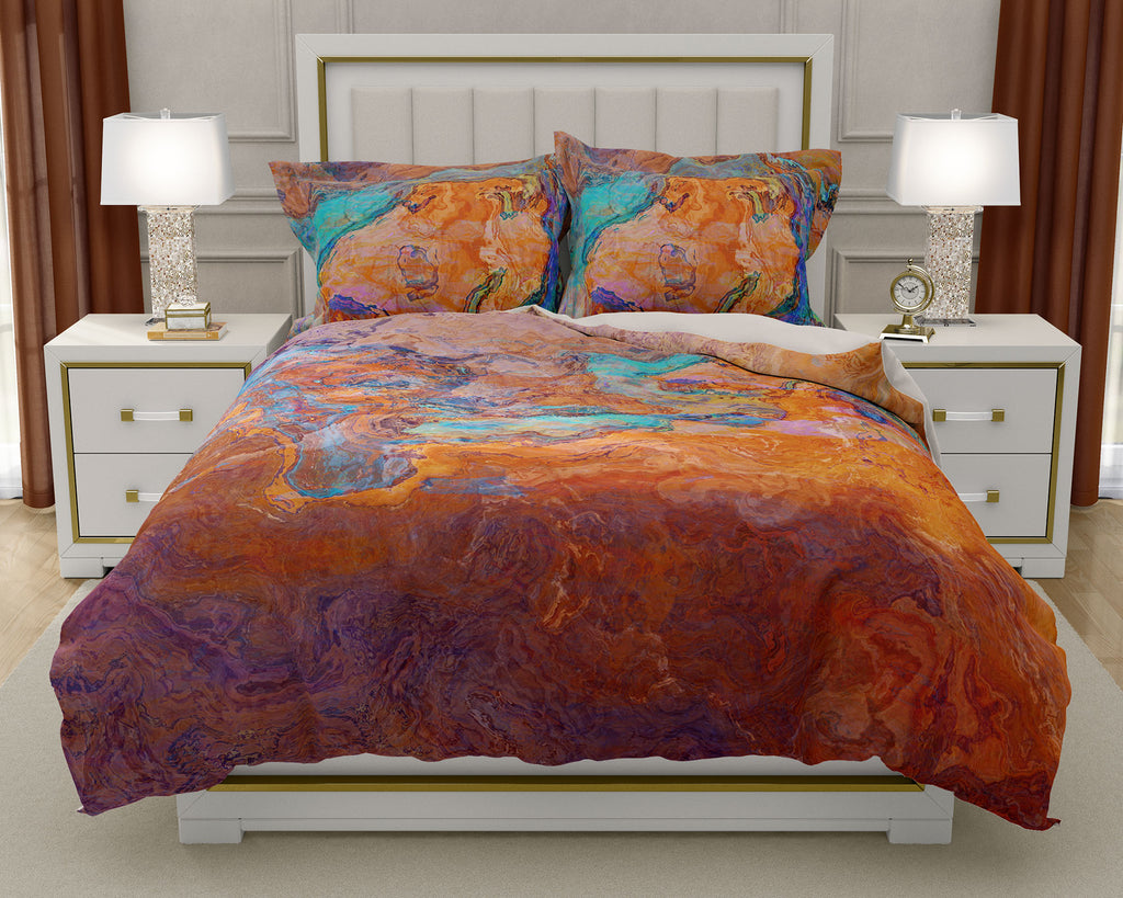 Abstract art Duvet Cover, king or queen turquoise orange southwestern