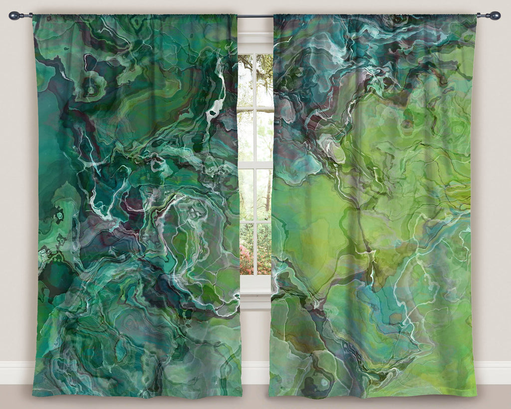 "Abstract art window curtains 50""x84"" panels, blue-green, yellow-green"