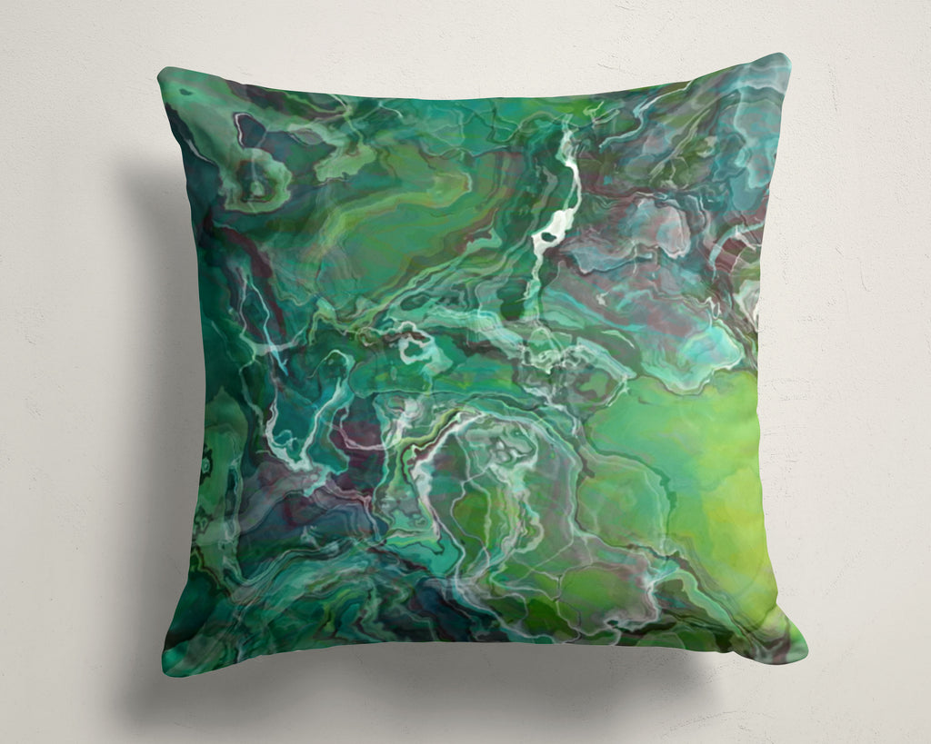 Abstract art pillow covers, 16x16 and 18x18 inches, blue-green