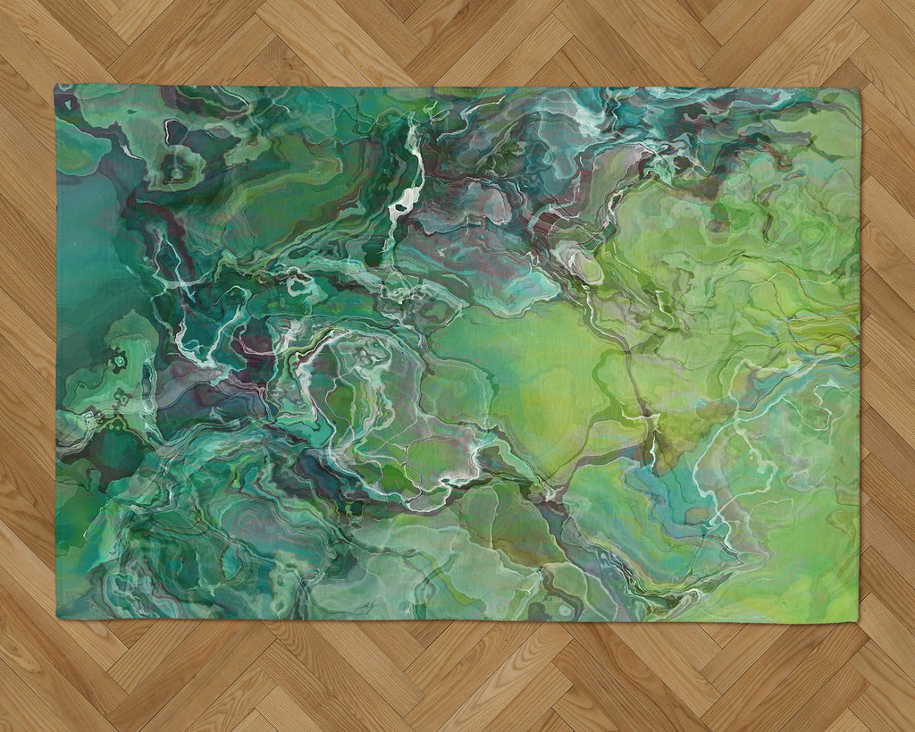 Area Rug with Abstract Art, 2x3 to 5x7, in blue-green and yellow-green