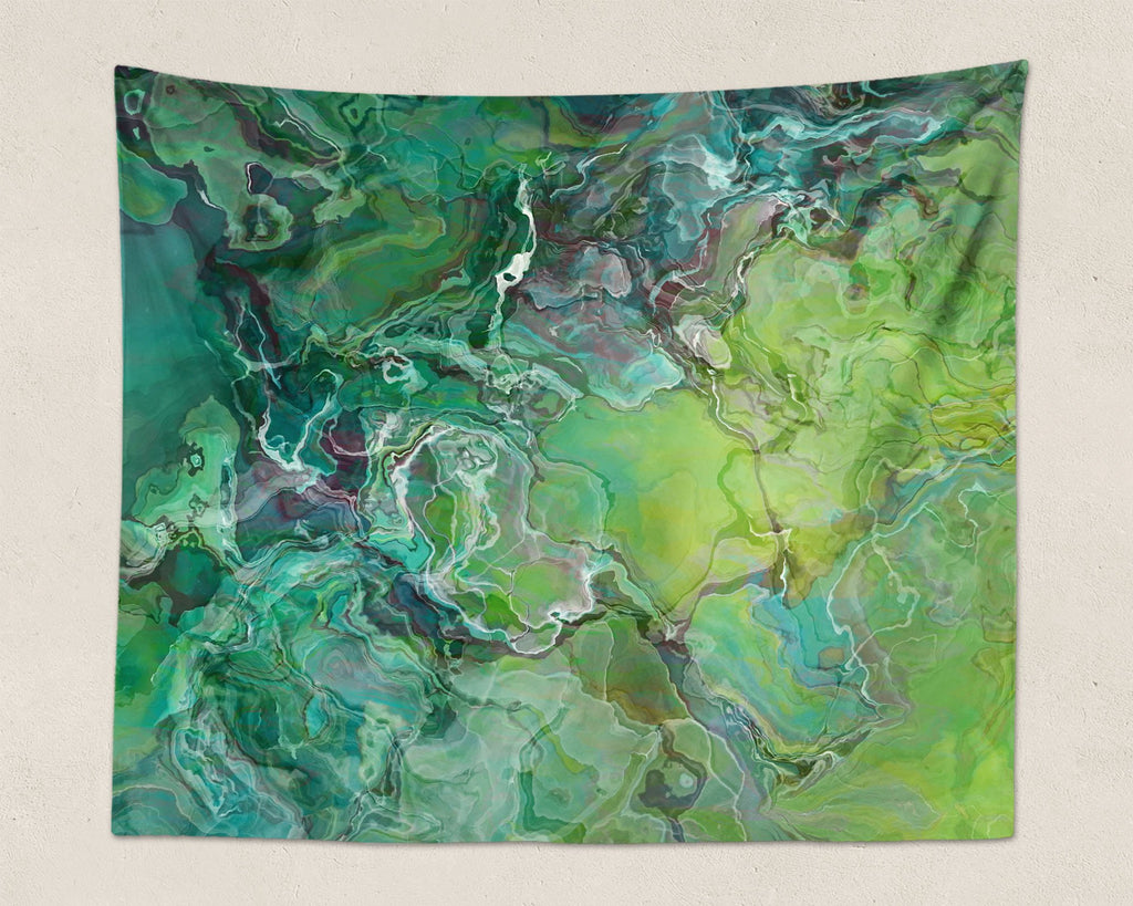 Abstract Art large modern wall hanging in blue-green and yellow-green