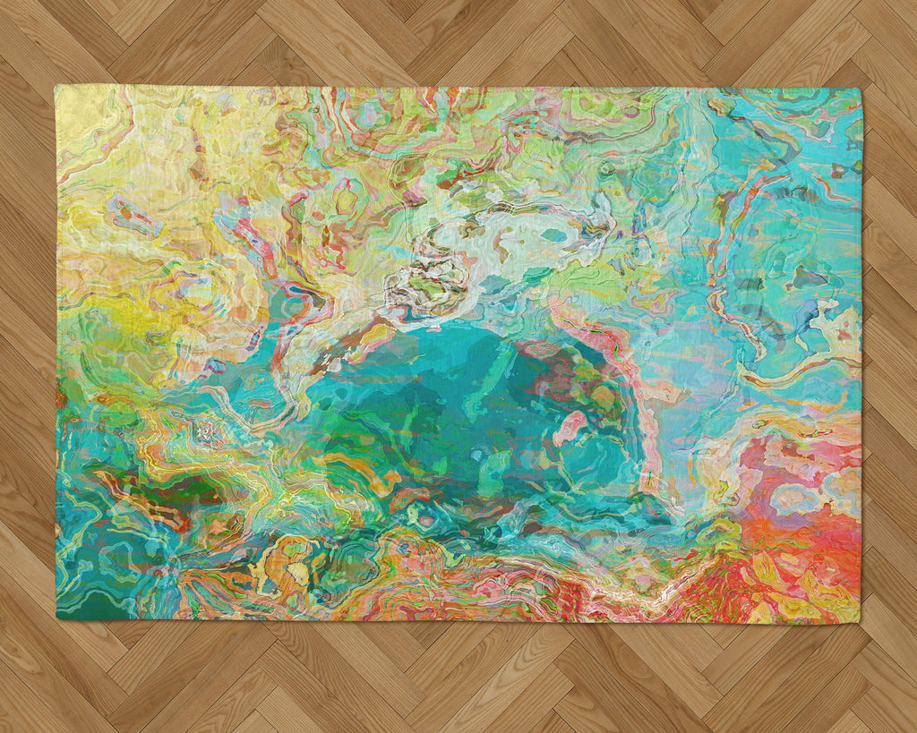 Area Rug with Abstract Art, 2x3 to 5x7, in aqua, yellow, green, red
