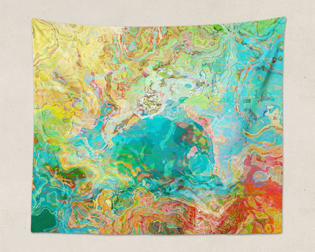 Abstract Art large modern wall hanging in aqua, yellow, green, red