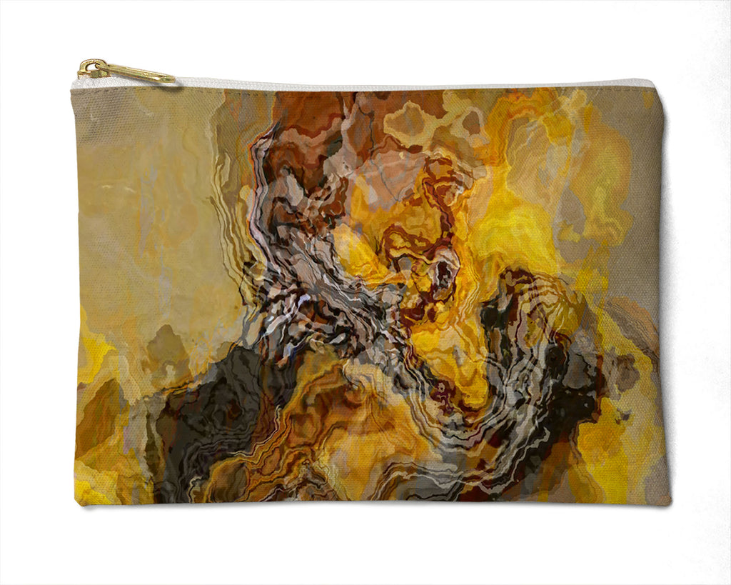 Makeup Bag, Pencil Case, Cosmetic Bag Abstract Art brown, yellow, rust