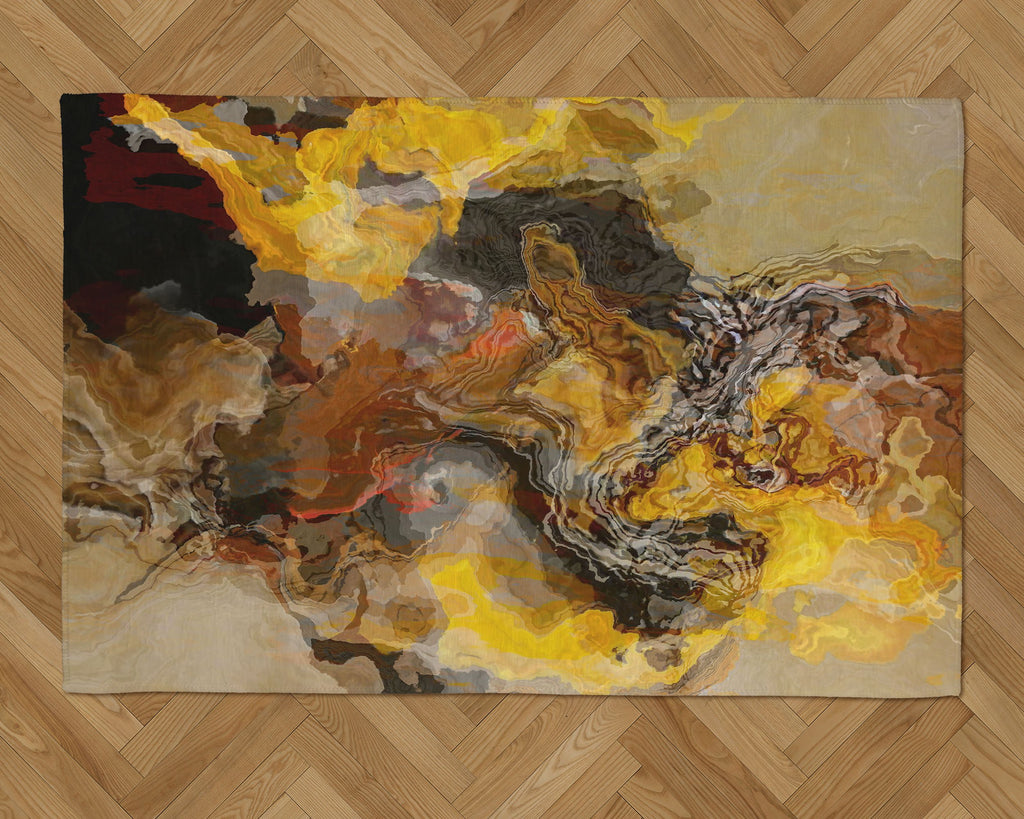 Area Rug with Abstract Art, 2x3 to 5x7, in brown, yellow, rust