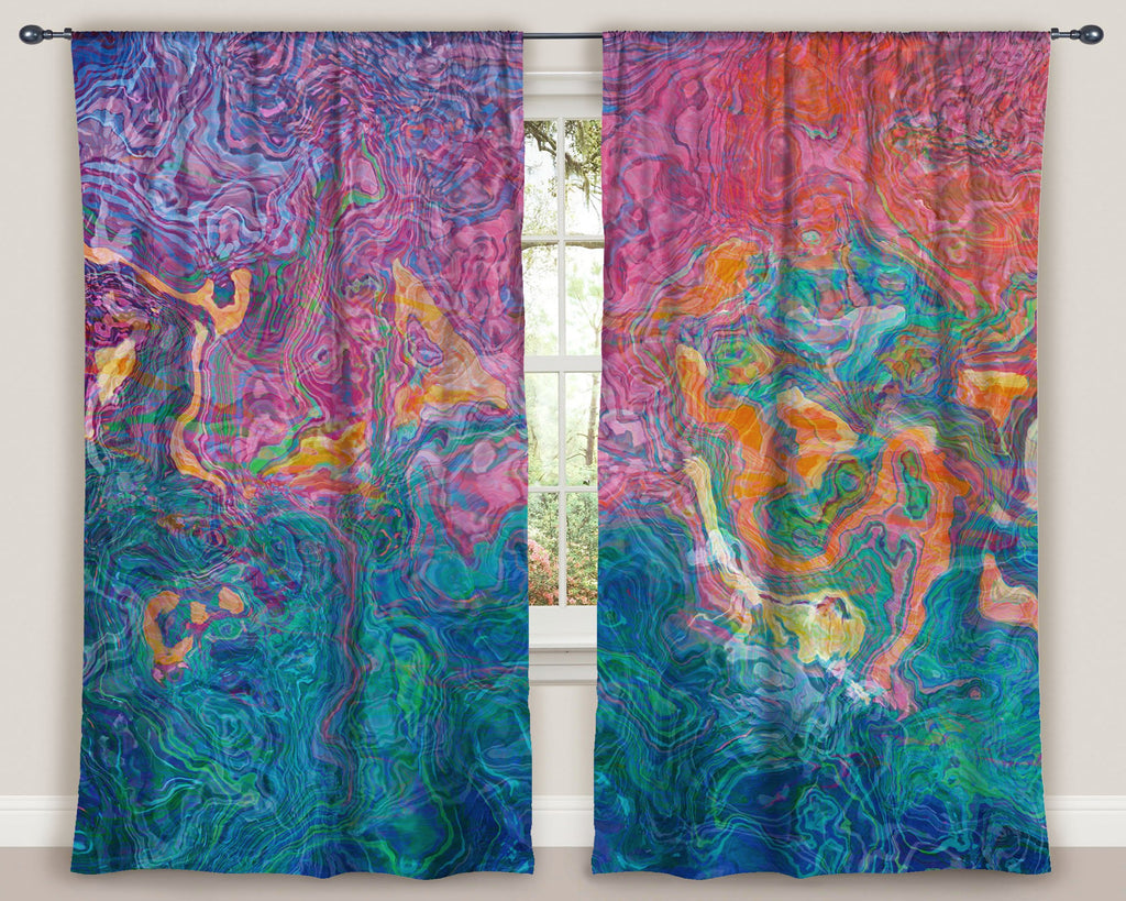 "Abstract art window curtains 50""x84"" panels in Blue, Hot Pink, Orange"
