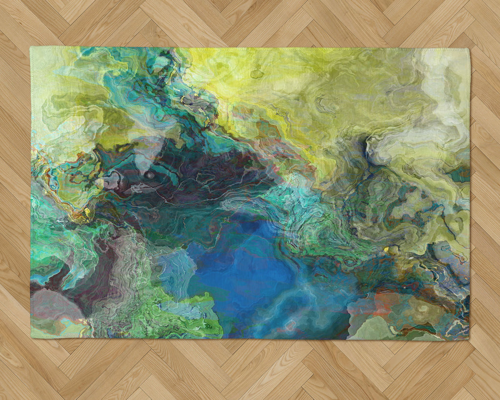 Area Rug with Abstract Art, 2x3 to 5x7, in Blue and Green