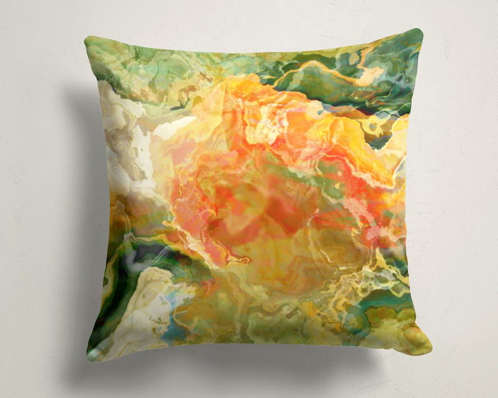Abstract art pillow covers, 16x16 and 18x18 inches, Green, Yellow, Red