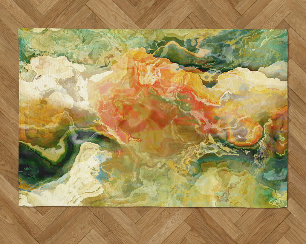 Area Rug with Abstract Art, 2x3 to 5x7, in Green, Yellow, Red, Cream