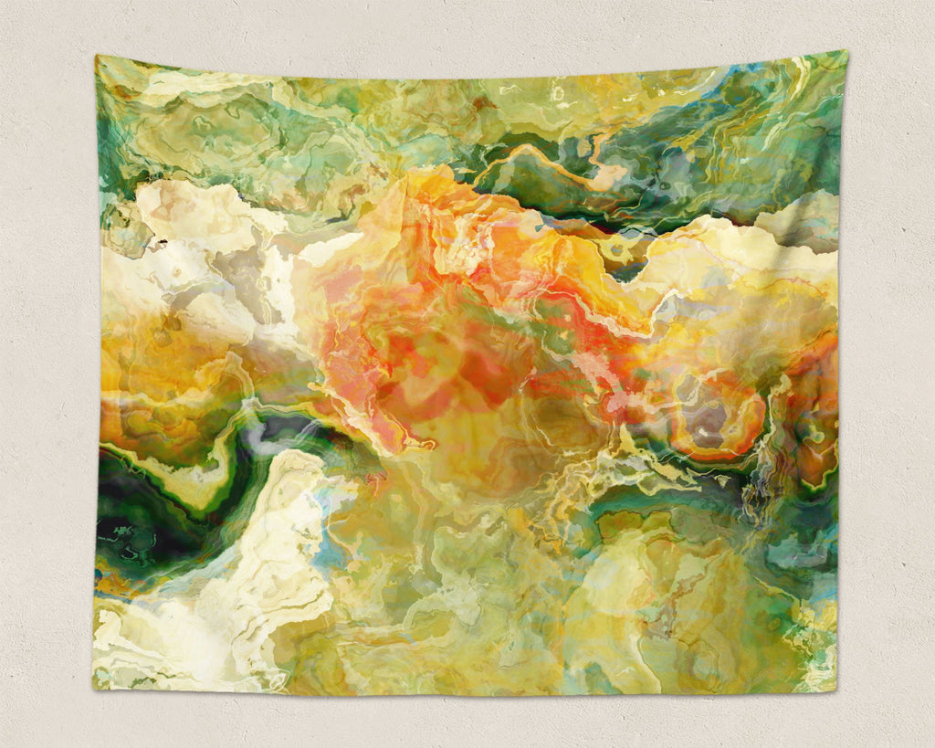 Abstract Art large modern wall hanging in Green, Yellow, Red, Cream