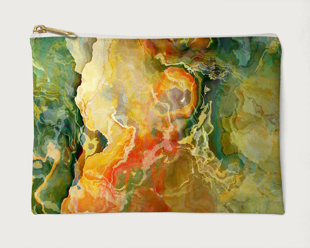 Makeup Bag, Pencil Case, Cosmetic Bag Abstract Art, Green, Yellow, Red