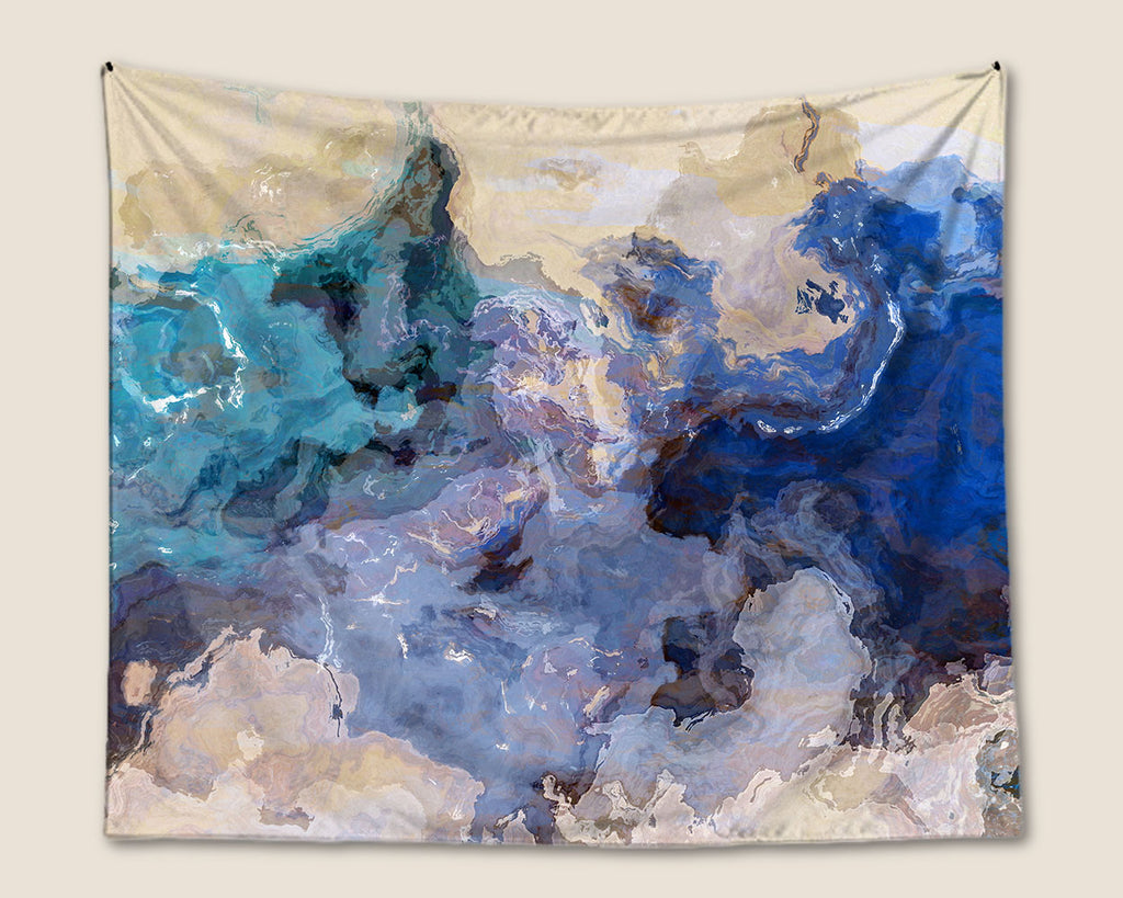Abstract Art Tapestry in Blue, Blue Green, Tan, Cream