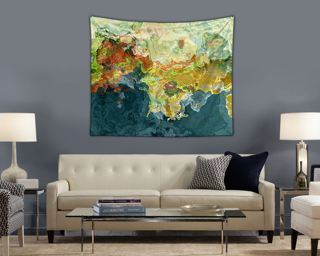Abstract Art contemporary wall hanging in teal, orange, green