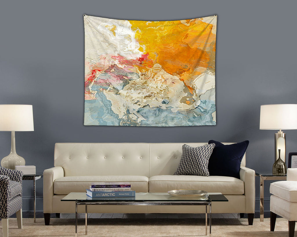 Abstract Art Tapestry, modern wall hanging in yellow, orange, white