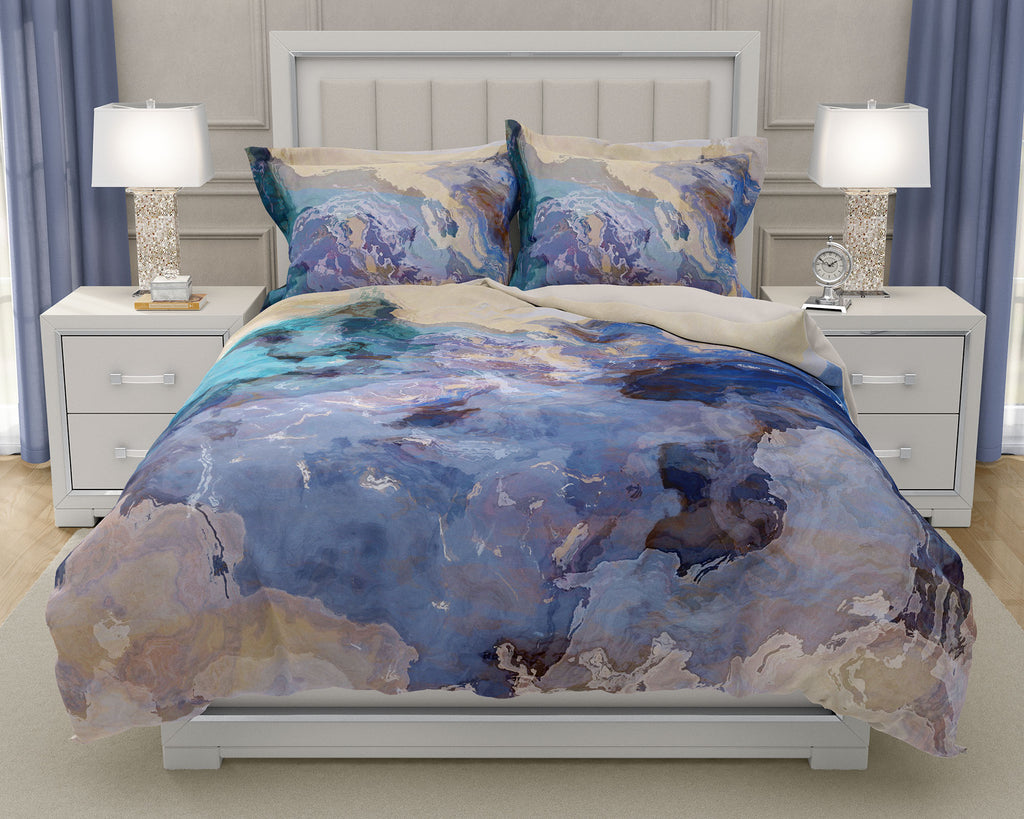 Abstract art Duvet Cover, king or queen in blue, green and tan