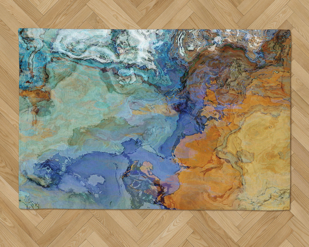 Area Rug with Abstract Art, 2x3 to 5x7, in Blue and Brown