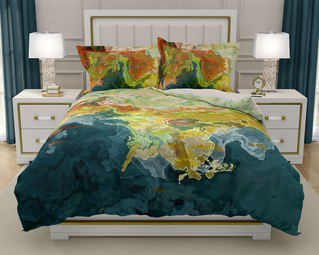 Duvet Cover with abstract art, king or queen in teal, orange and green