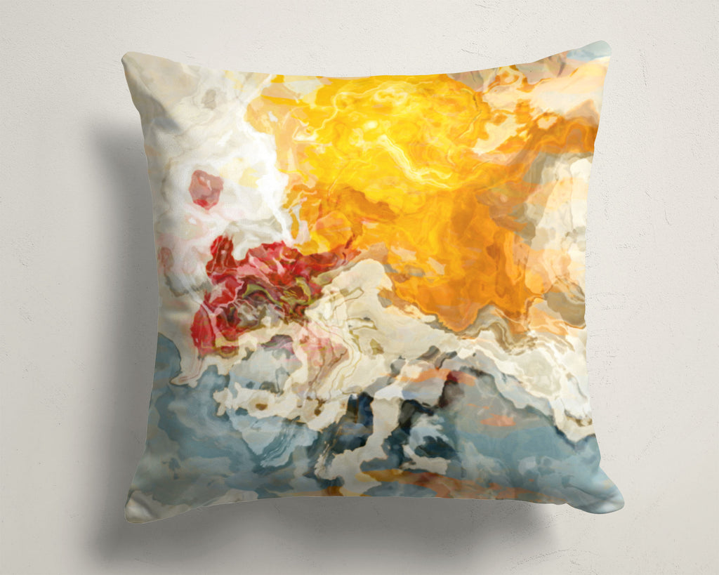 Abstract Art Pillow Cover Yellow, Orange, Cream, White, Red, Blue