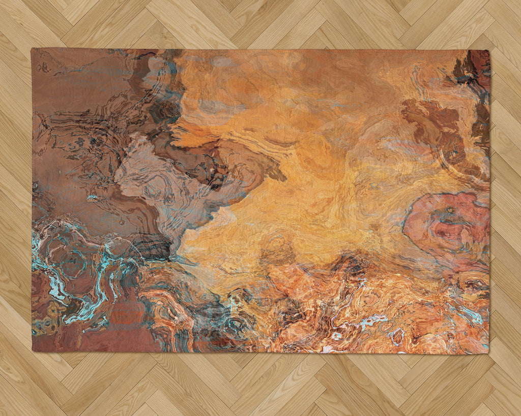 Area Rug with Abstract Art, 2x3 to 5x7, in Rust, Orange and Brown