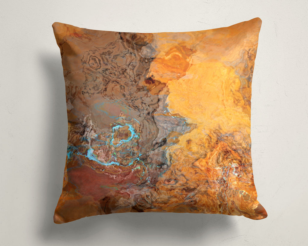 Abstract Art Pillow Cover Rust, Orange, Brown, Turquoise
