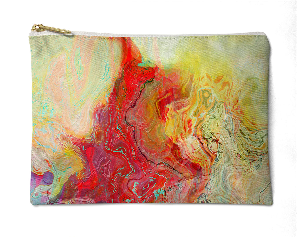 Makeup Bag, Pencil Case, Cosmetic Bag Abstract Art, red, pale green