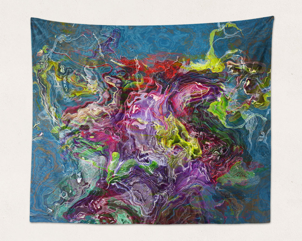 Abstract Art large modern wall hanging in Purple, Green, Red, Blue