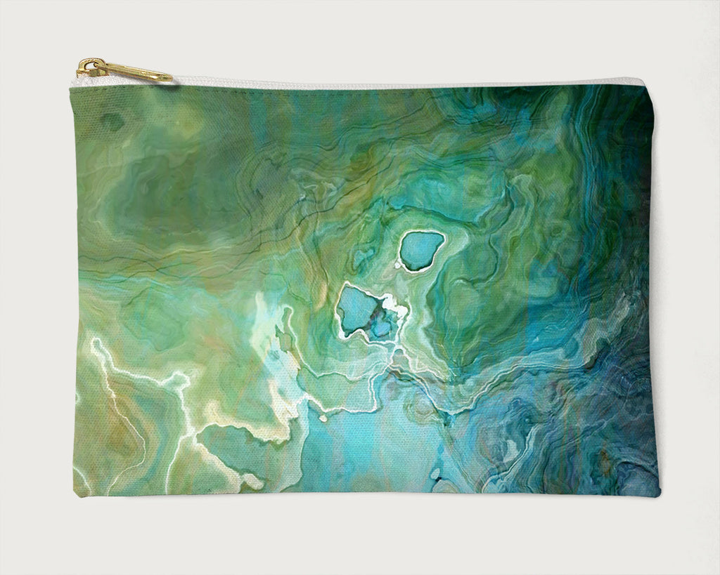 Makeup Bag, Pencil Case, Cosmetic Bag Abstract Art, Blue, Aqua, Green