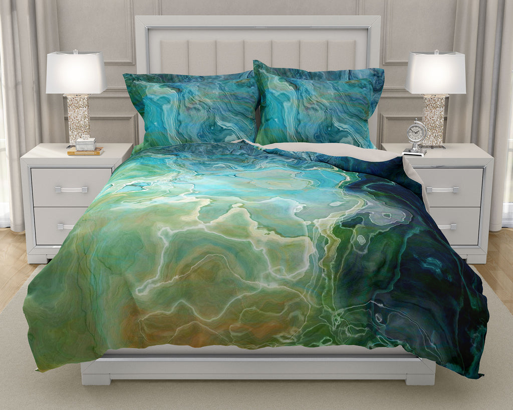 Duvet Cover with abstract art, king or queen, Blue, Aqua, Green, Navy