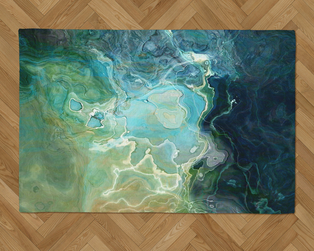 Area Rug with Abstract Art, 2x3 to 5x7, in Blue, Aqua, Green, Navy
