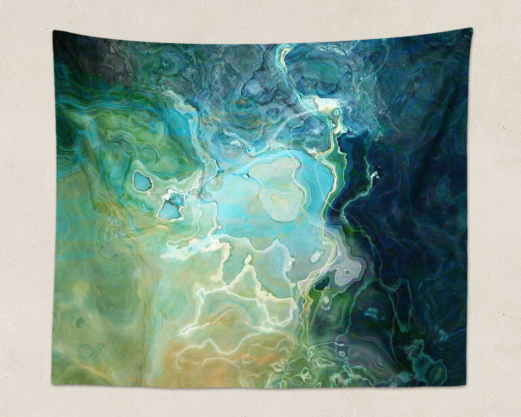 Abstract Art large modern wall hanging in Blue, Aqua, Green, Navy