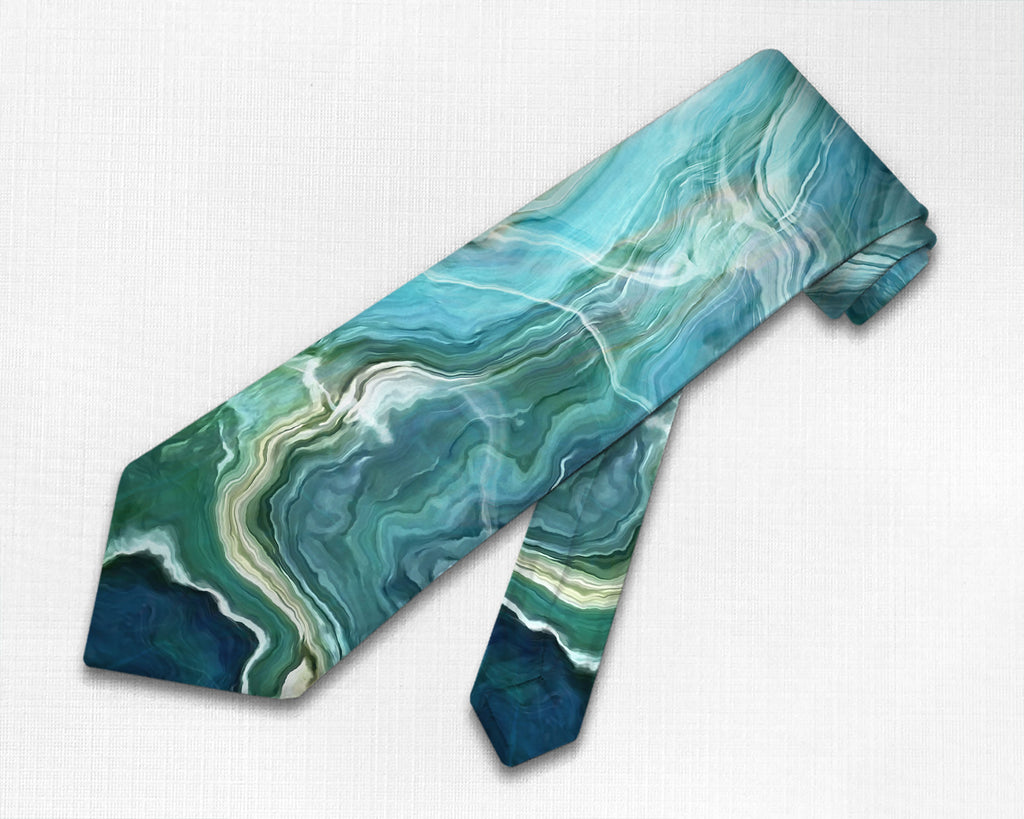 Abstract art men's tie in Blue, Aqua, Green, Navy, and Cream