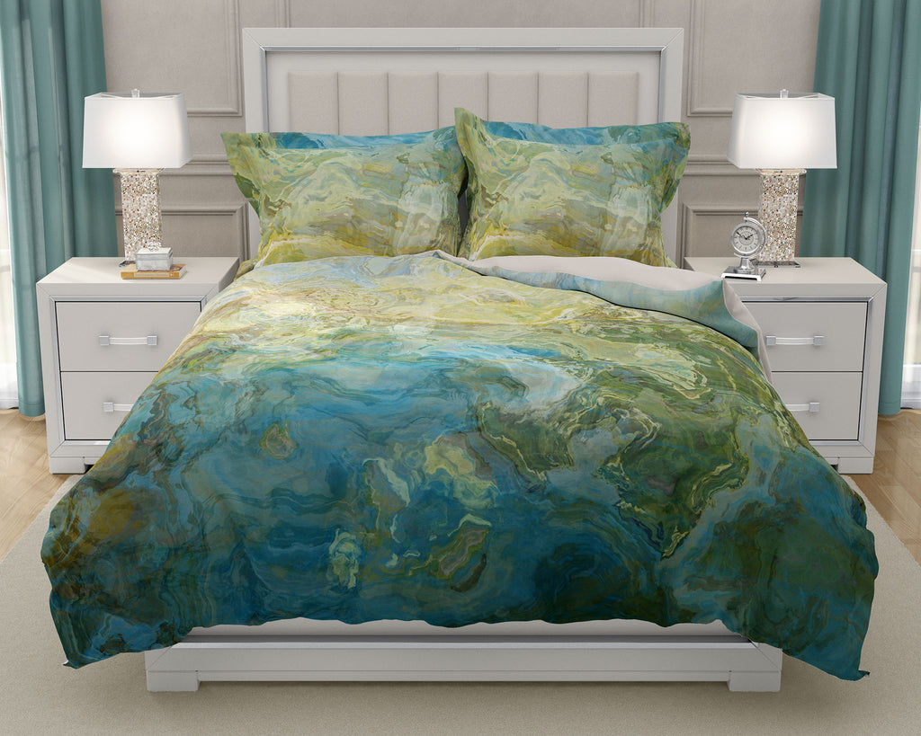 Duvet Cover with abstract art, king or queen in turquoise and green