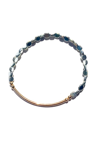 hematite and gold bracelet-cvbnb