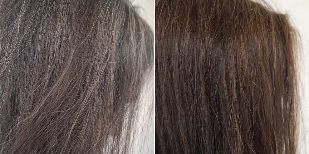 JJ is a woman in her forties whose hair was both going gray but also losing its pigmentation. She had never treated her hair before with any coloring product. Her brown hair became richer and shinier after using Hairprint. - Women's Brown Formula