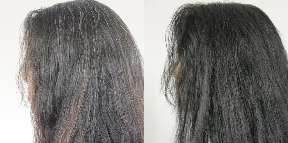 Due to chemical sensitivities and Lyme Disease, HH was not able to use traditional hair dyes. The before and after pictures say it all really. Color, shine, and body have all returned. - Women's Dark Formula