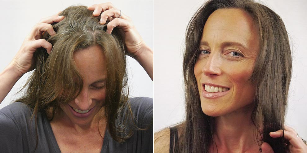 JH is a 40 year old who has never used hair dye, and is only starting to see some gray. The Hairprint application restored the gray hair to her native color while adding body and sheen. - Women's Brown Anti-Aging Formula