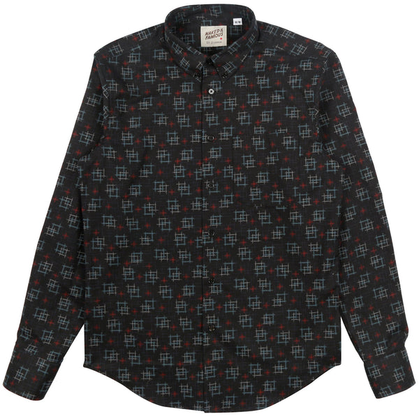 Naked & Famous Regular Shirt Kasuri Print Black