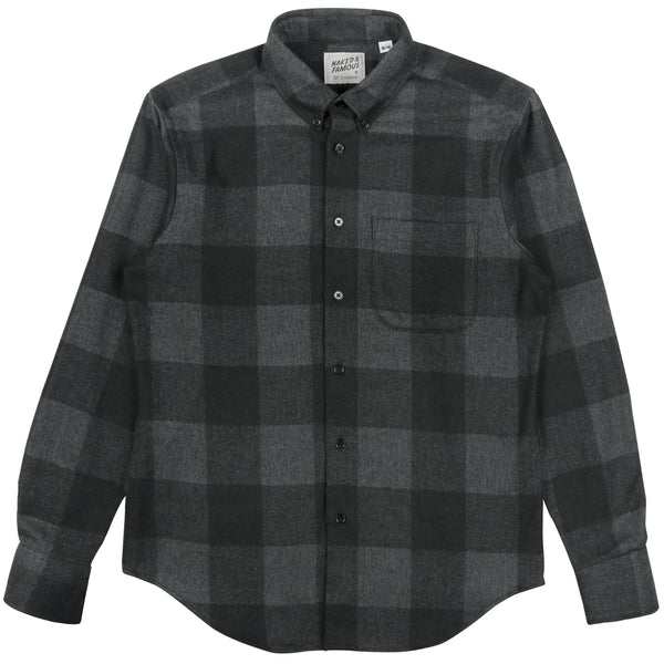 Naked & Famous Regular Shirt Dobby Buffalo Check Charcoal